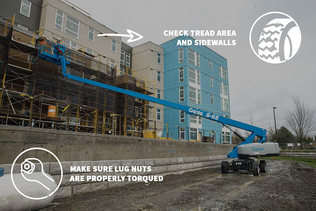 lug nuts and tread area